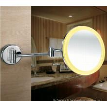 Miroir de rasage éclairé par LED fixé au mur de cadre acrylique pour salle de bains