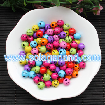 8MM Acrylic Round Cartoon Smilling Face Beads Findings