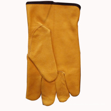 Yellow Color Leather Driver′s Gloves
