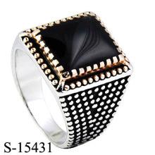 Hotsale 925 Prata Gemstone jóias homem anel com ágata.