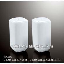2014 Emmy style elegant design square ceramic salt shaker, pepper shaker