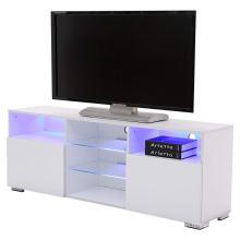TV-Ständer Media Console Cabinet LED-Regale mit 2 Schubladen für die Aufbewahrung im Wohnzimmer Schwarz Hochglanz für bis zu 57-Zoll-Fernseher