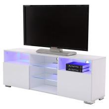 TV Stand Media Console Cabinet LED Shelves with 2 Drawers for Living Room Storage High Gloss Black for up to 57-inch TV