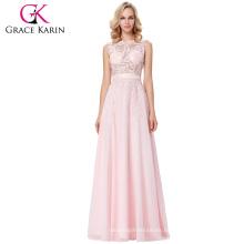Grace Karin Vestidos de noche largos rosados largos sin mangas elegantes sin mangas de la blusa de la blusa del partido 8 Tamaño US 2 ~ 16 GK000141-1