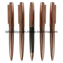 Bolígrafo de cobre rosa con forma de pluma de metal (LT-D007)