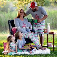 2016 venta caliente en stock color gris impreso pijamas de Navidad llanura de los niños