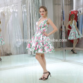 Reizvolle nette Blume druckte tiefes V-Ausschnitt-Kurzschluss-Abend-Kleid in der Türkei für Dame