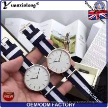 Yxl-621 Fashion Paar Uhren Edelstahl Gehäuse Nylon Nato Band Chronograph Quarzuhr