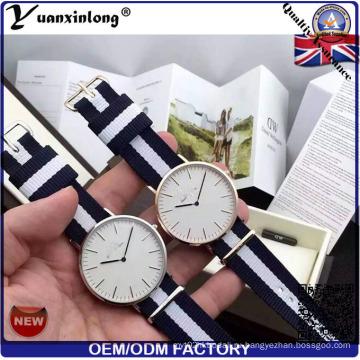 Yxl-621 Мода пару часов Нержавеющая сталь Нейлон Nato Band Хронограф Кварцевые часы
