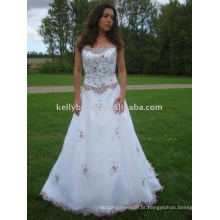 Último vestido de noiva com linho Evening / Formal Dress Type e tecido Technics padrão maxi vestido de baile vestido de menina de flor inchada