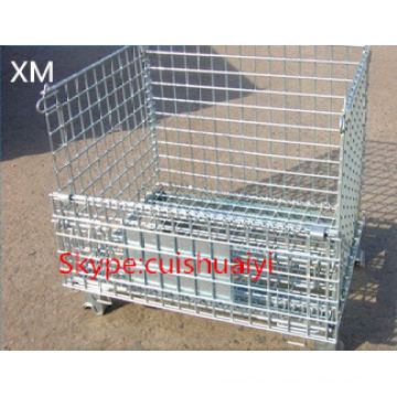 Heavy Duty Stackable and Foldable Wire Mesh Container for Storage
