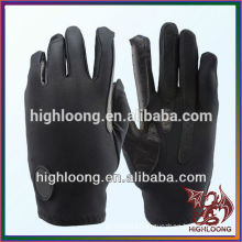 Black Unisex Polyester Cross Hand Leather Horse Riding Gloves