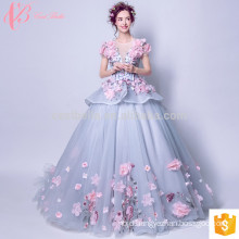 Luxuriant short sleeve puffy ball gown princess wedding dress