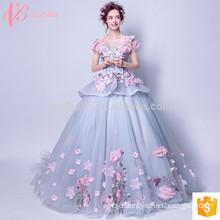 Luxuriant short sleeve puffy ball gown princess wedding dress