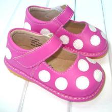 Горячий Розовый с Белыми Полькой Точками Малыш Девушка Скрипная Обувь