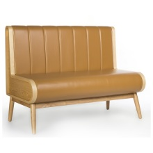 Solid Wood Leather High Back Restaurant Booth sofa