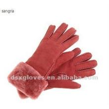 Tiempo frío giro guantes de piel de pun ¢ o