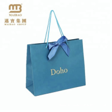Cheap Price Luxury Light Blue And Gold Carrier Ribbon Tie Gift Shopping Paper Bags With Handles