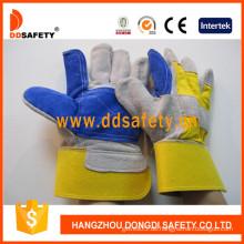Doppeltes Leder Gelb Baumwolle Zurück Rindspaltleder Handschuh -Dlc329