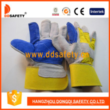 Double Leather Yellow Cotton Back Cow Split Leather Glove -Dlc329