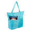 Saco impermeável de compras dobrável de poliéster reutilizável