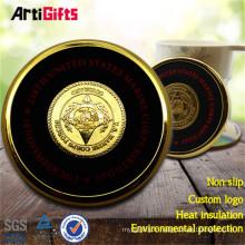 Manufacture Production personnalisée ronde coaster en métal doré