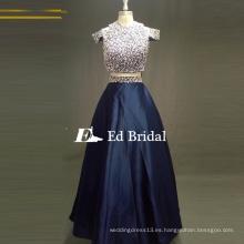 ED nupcial elegante dos piezas de la manga del casquillo rebordeado Alibaba vestidos de noche