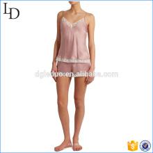 Pijama de seda suave de satén mujeres con encaje ropa de dormir P11