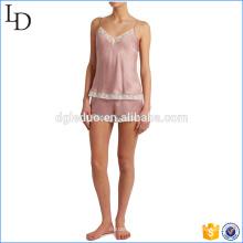 Шелк атлас мягкие пижамы женщин с кружевной отделкой пижамы Р11