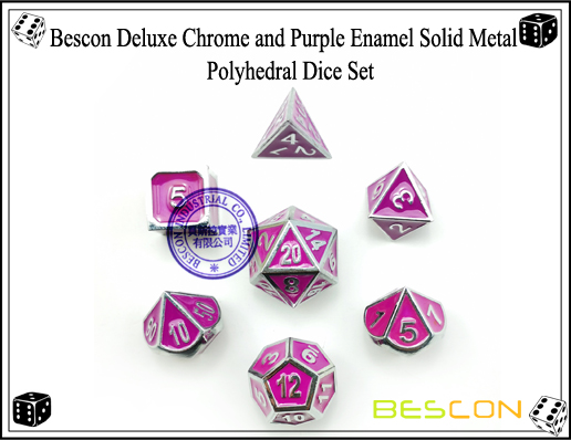 Bescon Deluxe Chrome and Purple Enamel Solid Metal Polyhedral Role Playing RPG Game Dice Set (7 Die in Pack)-4