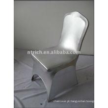 Capas de cadeira de metal Spandex prata para casamentos e banquetes