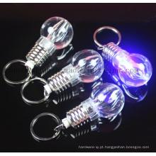 Corrente do anel chave de Keychain do bulbo do diodo emissor de luz do plástico do OEM
