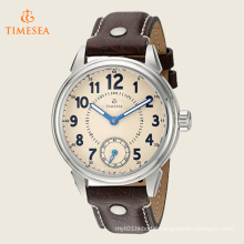 Men′s Stainless Steel and Brown Leather Casual Watch 72525