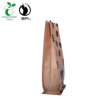 Tas Kopi Resealable Komposable Biodegradable Bawah Rata