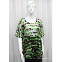 Damenmode Blume gedruckt Polyester Gestrickte Hohl T-Shirt (YKY2205)