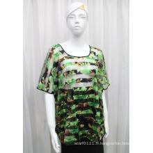 Lady Fashion fleur imprimé polyester tricoté creuse T-shirt (YKY2205)