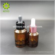 Botella de cristal cosmética del cuentagotas de la botella de cristal del ambarino de la botella de cristal del aceite esencial de 30ml 60ml