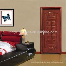 Porta de madeira de entrada clássica com MDF e pintura