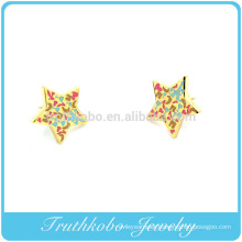 TKB-E0018 316L Surgical Stainless Steel Cartilage Earring with Multi Gem on a 9mm Star