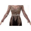 Elegant Gold Embroidered long sleeve Muslin Evening dress 2017 floor length sexy mermaid laced evening dress women long