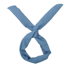 Light Blue Jean Fabric Rabbit Ear Headband (HEAD-23)