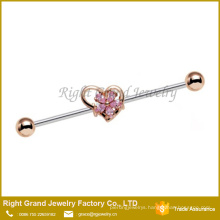 316L Surgical Steel Gold Plated Pink Flower and Heart Industrial Barbell 38mm