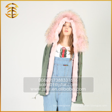 Heiße verkaufende preiswerte Frauen Fauxjacke mit Kapuze Fox Pelz Parka