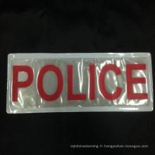 EN13356 coudre sur le vêtement de sécurité imprimé rustines pvc réfléchissantes