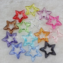 Transparent Acrylic Star Beads with Circle Star in Middle