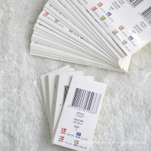 Barras de código de barras pegadas Hangtag para etiquetas de prendas de vestir