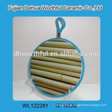 Novo, bambu, desenho, cerâmico, pote, suporte, levantar, corda