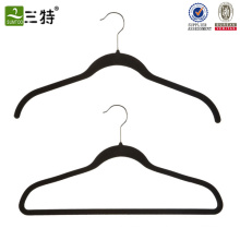 Kunststoff-Samt beflockter Kleiderbügel mit Logo