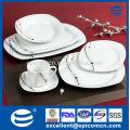 20PC-EX8500 atractiva mesa de configuración de cuadrados de porcelana blanca conjunto de vajilla