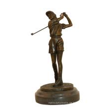 Sport Messing Statue Golf weiblichen Spieler Dekor Bronze Skulptur Tpy-784